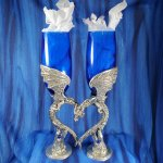 Dragon Heart Wing Pair of Royal Blue Flutes