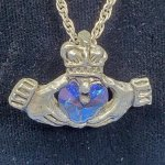 Claddagh Pewter Pendant - Blue *Retired*