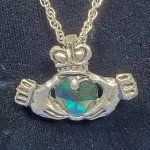 Claddagh Pewter Pendant - Green *Retired*