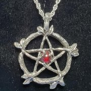 Wicca Pewter Pentacle Pendant - Red
