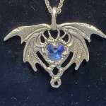 Crystal Dragon Heart Pewter Pendant - Blue