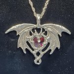 Crystal Dragon Heart Pewter Pendant - Red