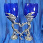 Dragon Heart Wing Wine Glass Pair Blue